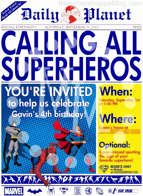Superhero Invitation Template Download Elegant Superhero Newspaper Birthday Invitation the Scrap Shoppe