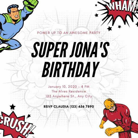 Superhero Invitation Template Download Luxury Customize 100 Superhero Invitation Templates Online Canva