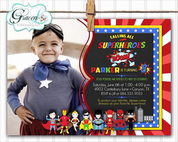 Superhero Invitation Template Download New 30 Superhero Birthday Invitation Templates Psd Ai