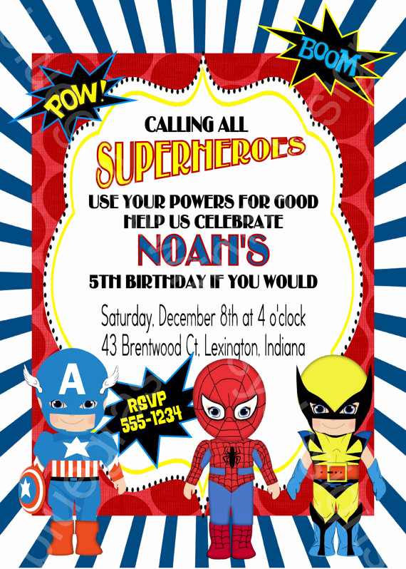 Superhero Invitation Template Free Beautiful Calling All Superheroes Birthday Party Invitation Boy or