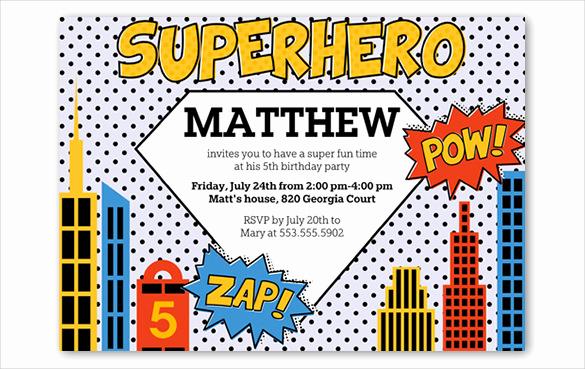 Superhero Invitation Template Free Fresh 30 Superhero Birthday Invitation Templates Psd Ai