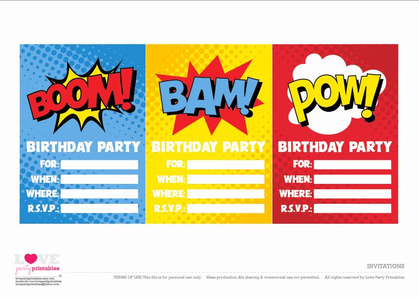 Superhero Invitation Template Free Lovely Free Superhero Party Printables