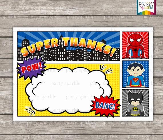 Superhero Invitation Template Free Lovely Instant Download Superhero Birthday Invitation Blank Thank