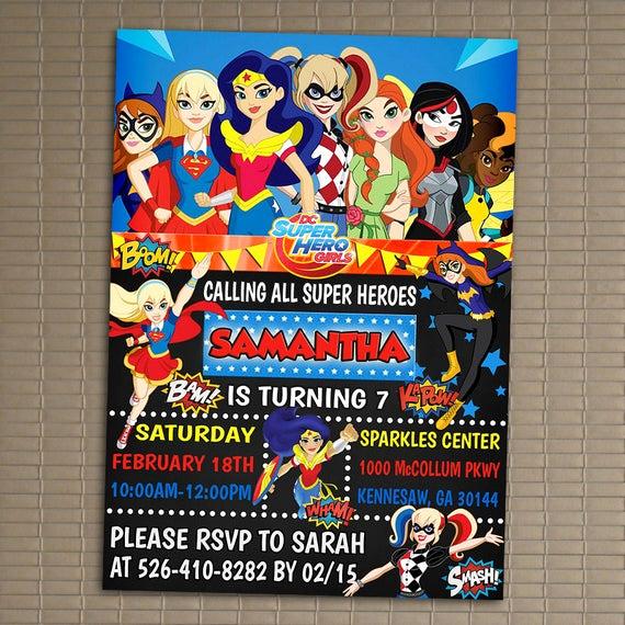 Superhero Invitation Template Free Luxury Dc Superhero Girls Invitation You Print Invitation Dc