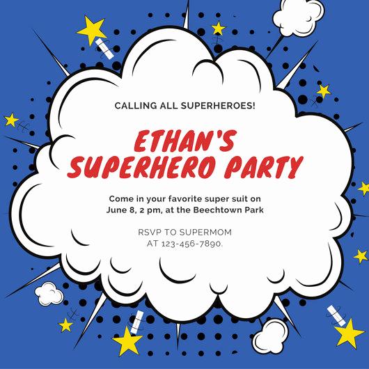 Superhero Invitation Template Free Unique Superhero Invitation Templates Canva