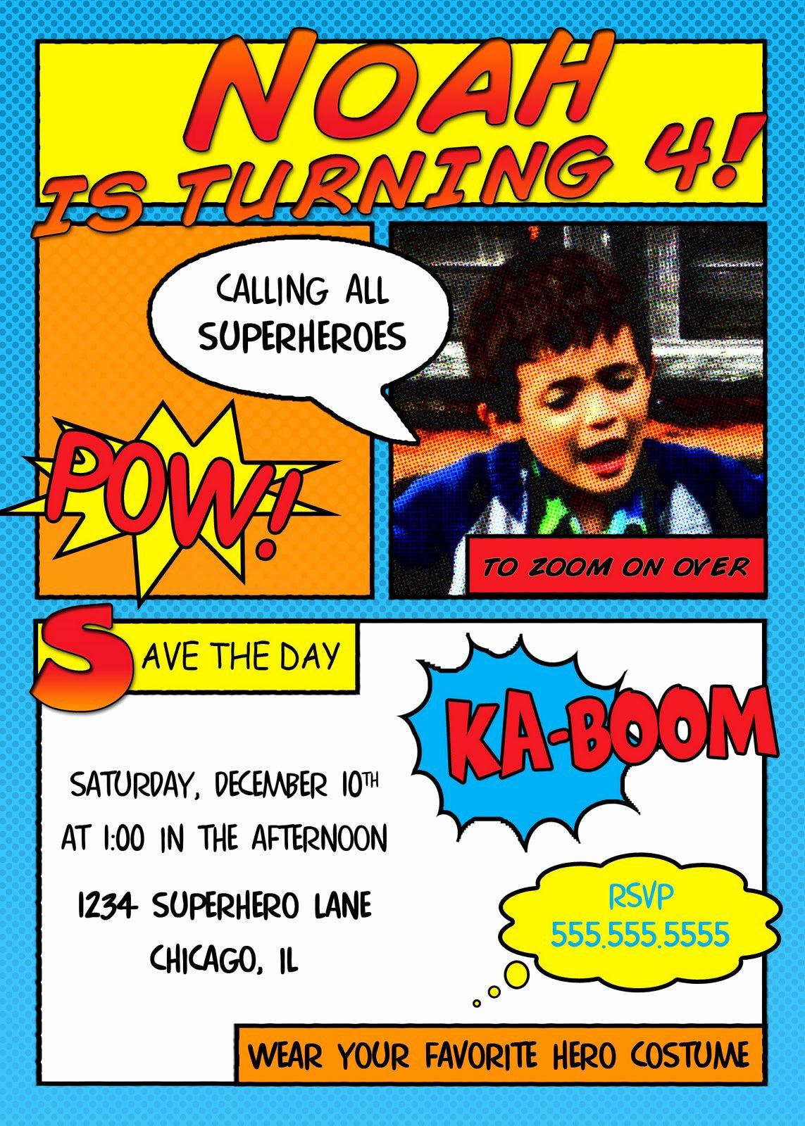 Superhero Invitation Template Free Unique Superhero Invitation Templates