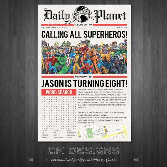 Superhero Newspaper Invitation Template Free Awesome Superhero Newspaper Birthday Invite with or without Word