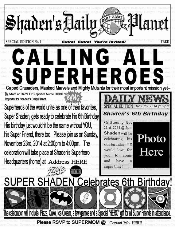 Superhero Newspaper Invitation Template Free Best Of Super Hero Invitation Superhero Birthday Invitation