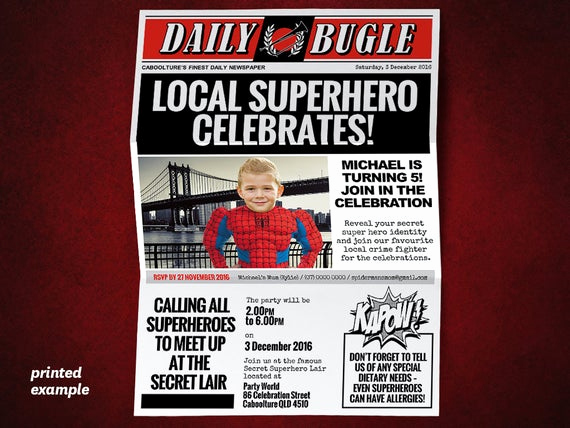 Superhero Newspaper Invitation Template Free Elegant Diy Superhero Newspaper Invitation Template for A Spiderman