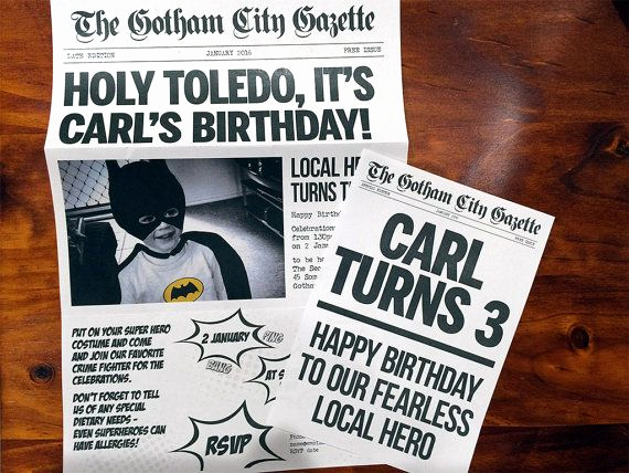 Superhero Newspaper Invitation Template Free Fresh Batman Inspired Superhero Newspaper Invitation Template