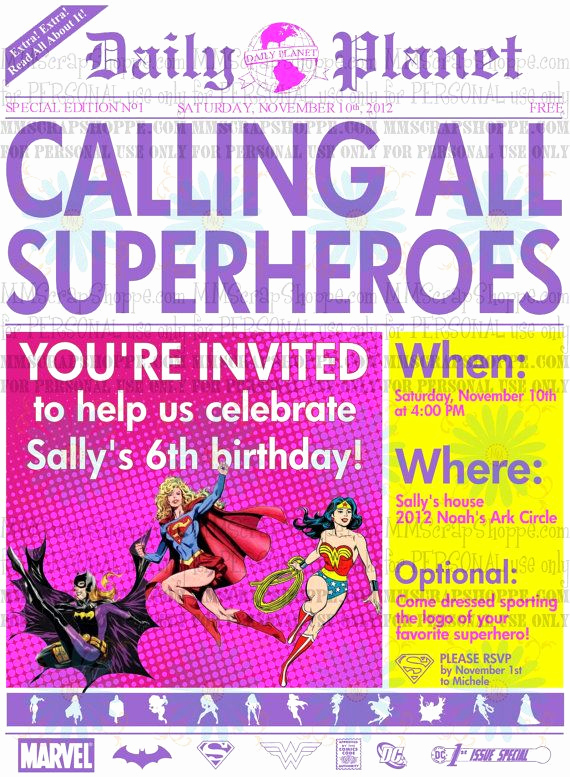 Superhero Newspaper Invitation Template Free Fresh Girls Superhero Newspaper Custom Printable Birthday
