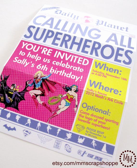 Superhero Newspaper Invitation Template Free Inspirational Girls Superhero Newspaper Custom Printable Birthday Invitation