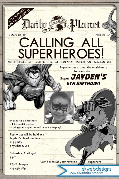 Superhero Newspaper Invitation Template Free Inspirational Super Hero Birthday Invitation Newspaper Superhero