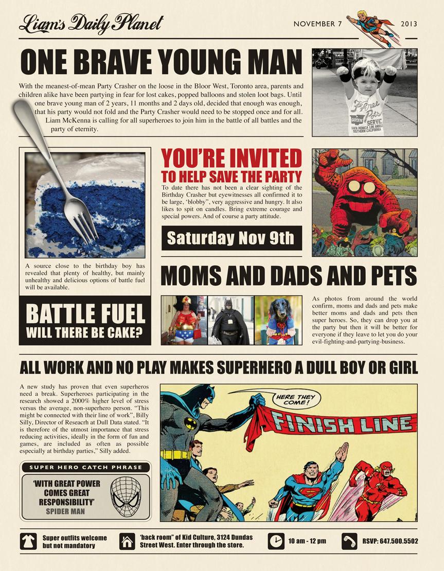 Superhero Newspaper Invitation Template Free Lovely A Superhero Birthday Party