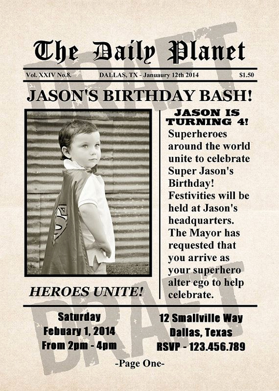 Superhero Newspaper Invitation Template Free Lovely Superhero Newspaper Birthday Invitation by
