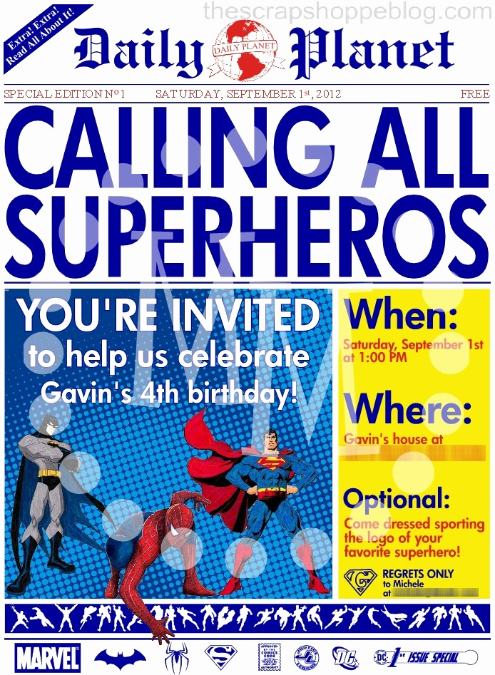 Superhero Newspaper Invitation Template Free Lovely Superhero Newspaper Birthday Invitation the Scrap Shoppe