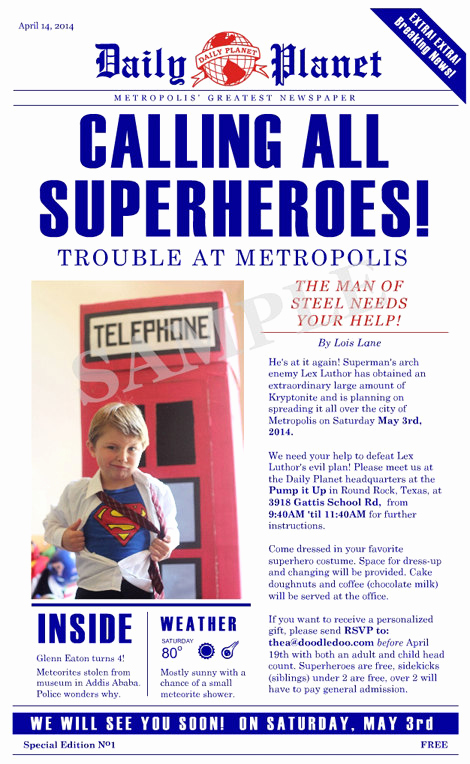 Superhero Newspaper Invitation Template Free Lovely Superman Daily Planet Birthday Invitation Digital File