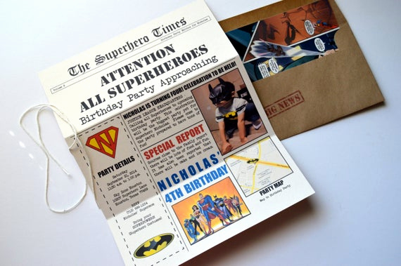Superhero Newspaper Invitation Template Free Luxury Superhero Newspaper Invitation Dc Invitation Justice League