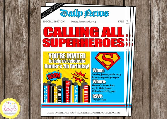 Superhero Newspaper Invitation Template Free New 29 Best Images About Superhero On Pinterest