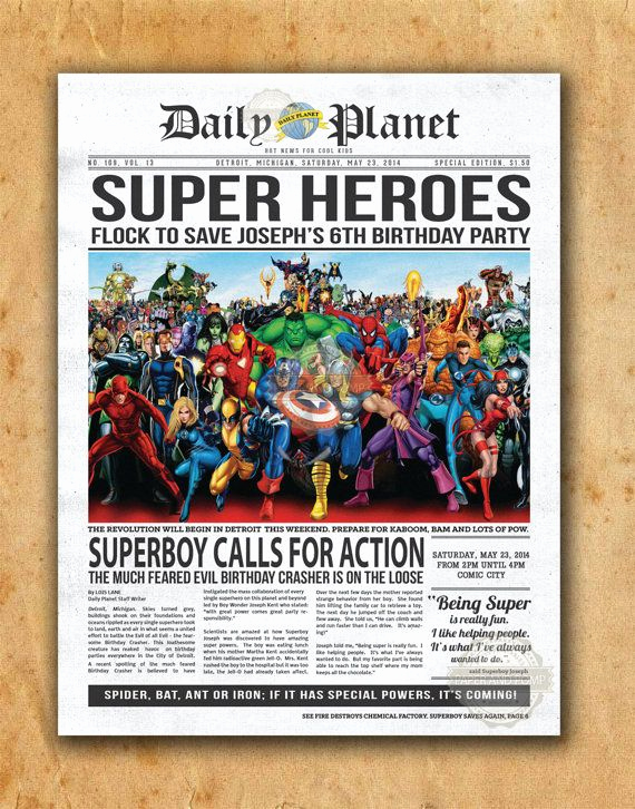 Superhero Newspaper Invitation Template Free New Superhero Newspaper Boys Birthday Invitation by