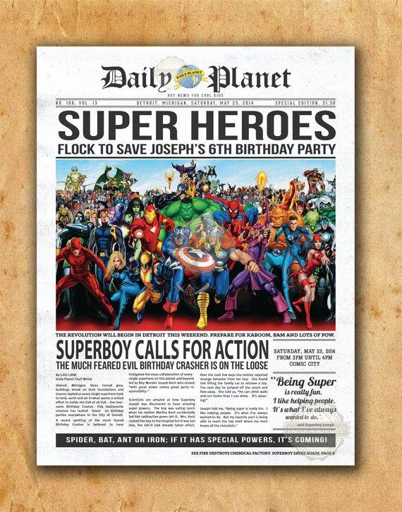 Superhero Newspaper Invitation Template Free New Superhero Newspaper Boys Birthday Invitation by