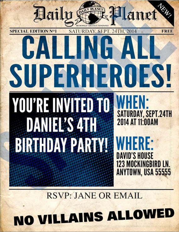 Superhero Newspaper Invitation Template Free New Superhero Newspaper Custom Printable Birthday by Manvitations