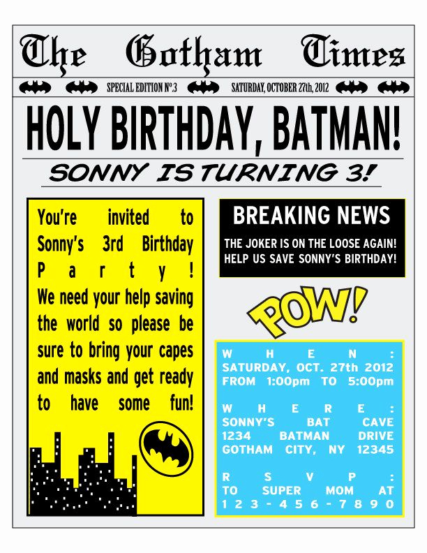 Superhero Newspaper Invitation Template Free Unique Printable Batman Birthday Party Newspaper Invitation by