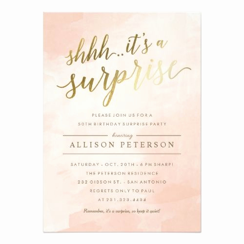 Suprise Birthday Party Invitation Beautiful Surprise Party Invitations Modern Faux Gold
