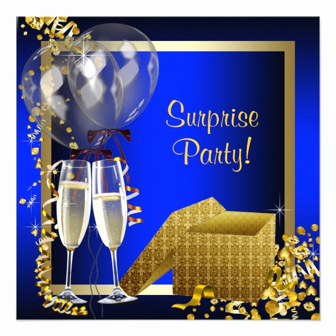 Suprise Birthday Party Invitation Fresh Champagne Confetti Blue and Gold Surprise Party Card