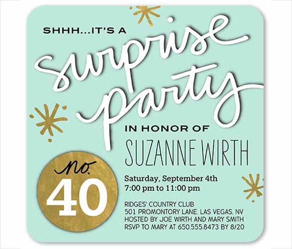 Suprise Birthday Party Invitation Fresh Free Surprise Party Invitations