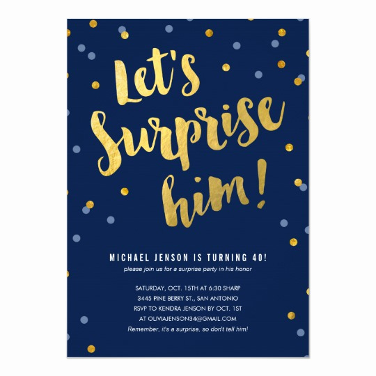 Suprise Birthday Party Invitation Fresh Gold Lettering Surprise Party Invitations for Him