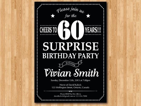 Suprise Birthday Party Invitation Fresh Surprise 60th Birthday Invitation Chalkboard Birthday Party