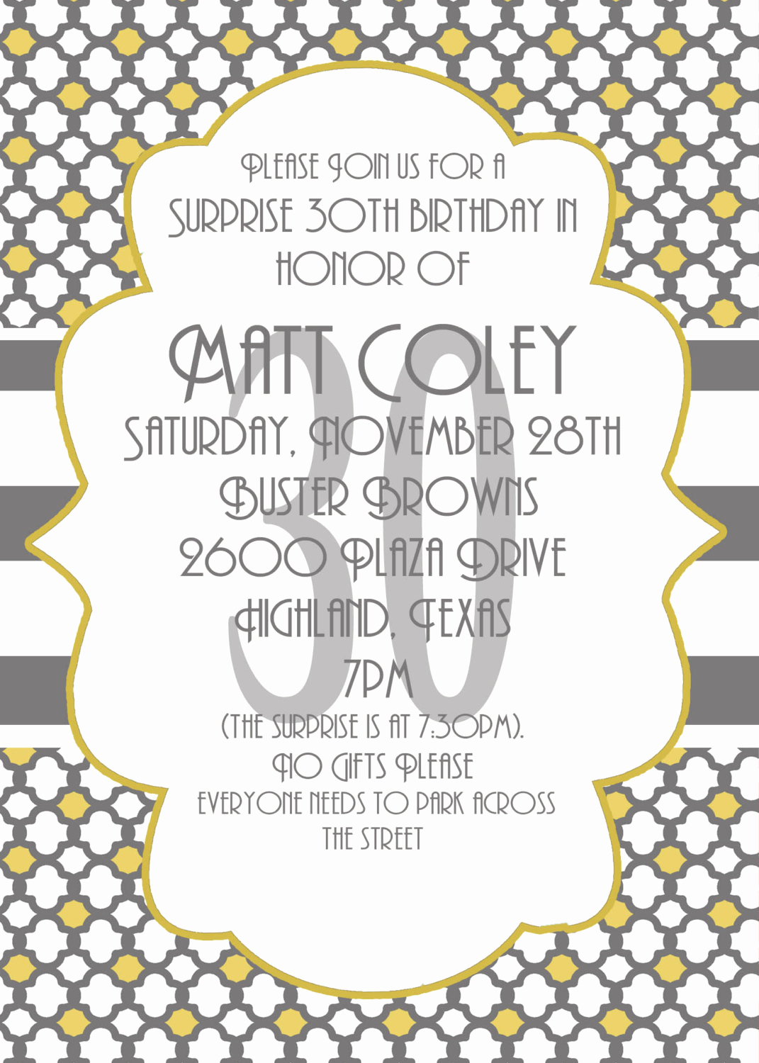 Suprise Birthday Party Invitation Inspirational Surprise Party Invitation 30th Birthday Invitation by