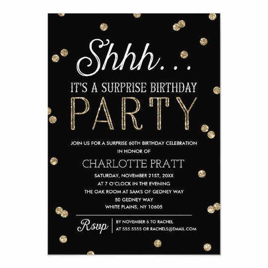 Suprise Birthday Party Invitation Lovely Shh Surprise Birthday Party Faux Glitter Confetti