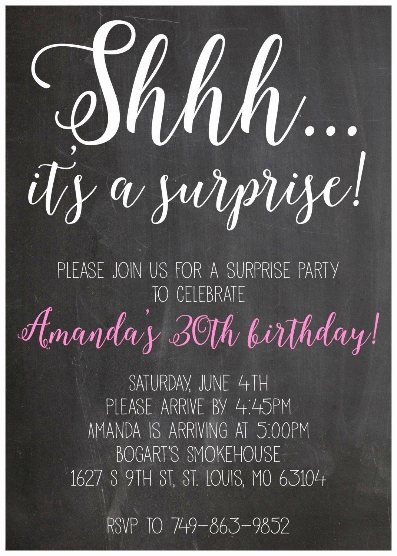 Suprise Birthday Party Invitation Lovely Shhh It S A Suprise Party Birthday Invitation 5x7 Digital