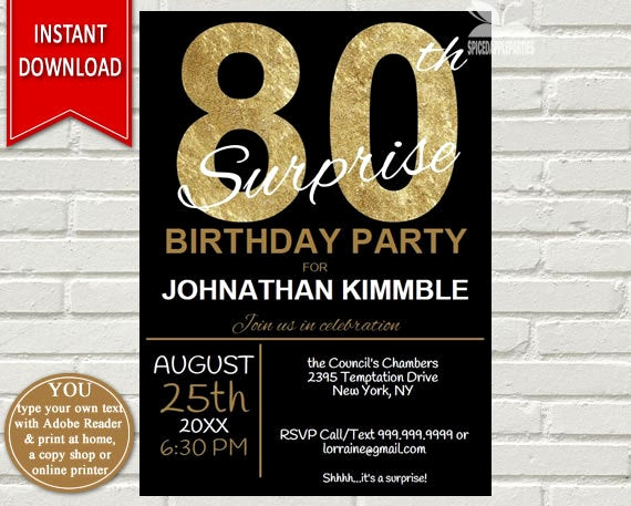 Suprise Birthday Party Invitation Luxury Mens 80th Surprise Birthday Invitation 80th Birthday Invite
