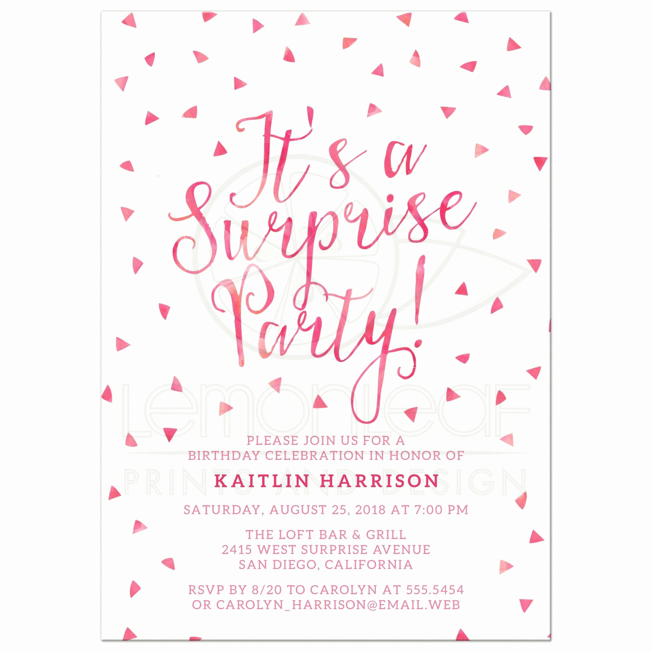 Suprise Party Invitation Wording Beautiful Surprise Birthday Party Invitations Pink Watercolor