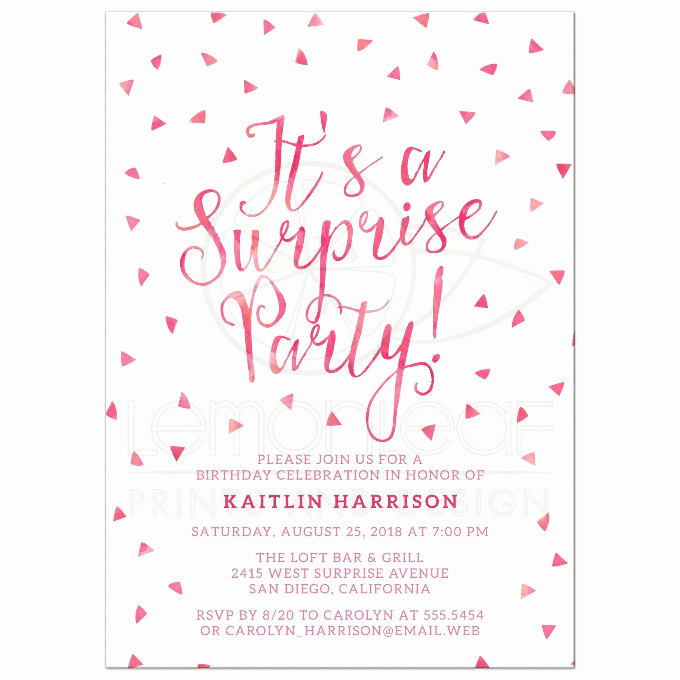 surprise birthday party invitations pink watercolor triangle confetti