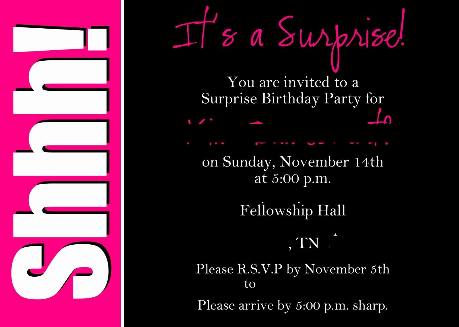 Suprise Party Invitation Wording Inspirational Alicia S Delightful Designs Shhhh It S A Surprise