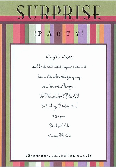 Suprise Party Invitation Wording Luxury Surprise Party Invitation Crafts Pinterest