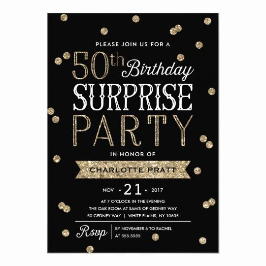Suprise Party Invitation Wording Unique 50th Glitter Confetti Surprise Party Invitation