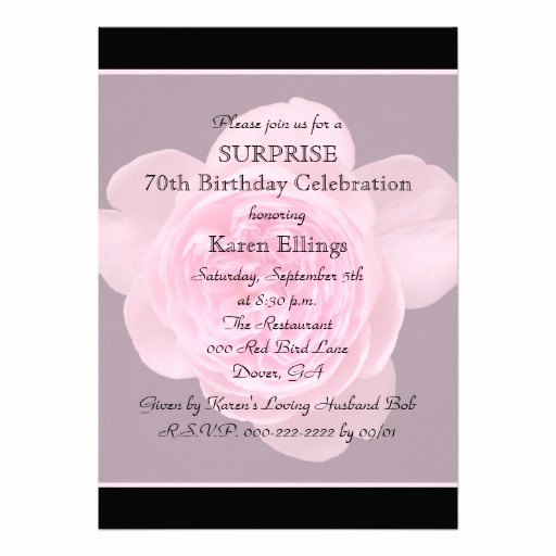 Surprise 70th Birthday Invitation Wording Beautiful 70th Surprise Birthday Party Invitation Rose