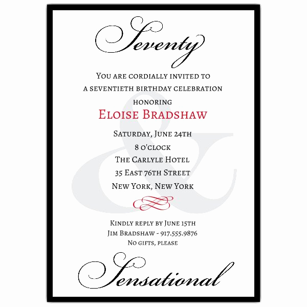 Surprise 70th Birthday Invitation Wording Best Of Classic 70th Birthday Milestone Invitations