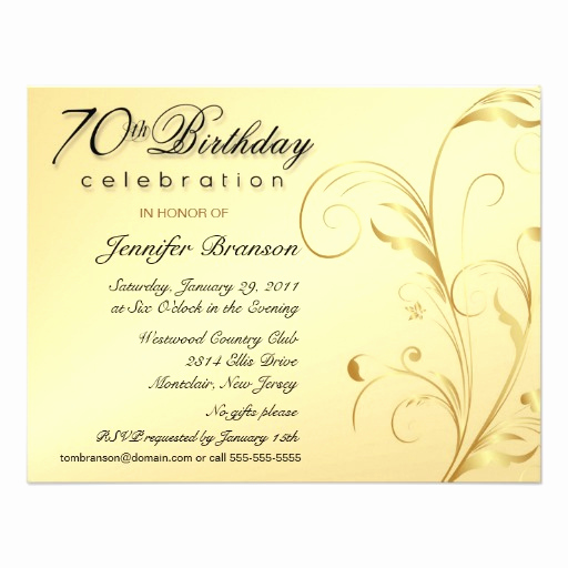 "Surprise 70th Birthday Invitation Wording Best Of Elegant 70th Birthday Surprise Party Invitations 4 25"" X 5"