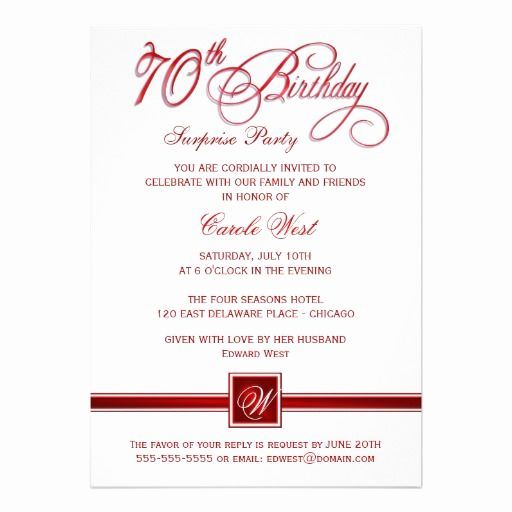 Surprise 70th Birthday Invitation Wording Elegant 70th Birthday Surprise Party Invitations Red