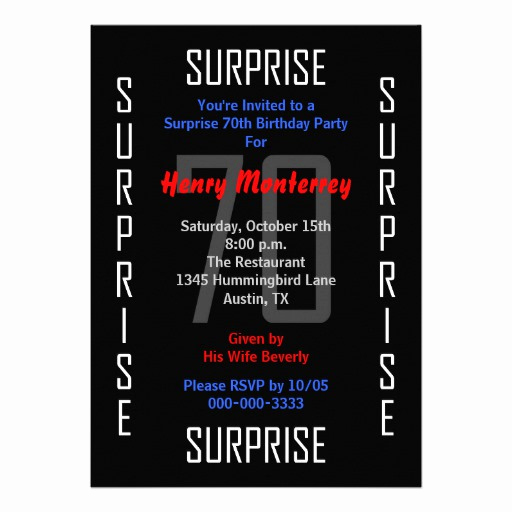 "Surprise 70th Birthday Invitation Wording Elegant Surprise 70th Birthday Party Invitation 70 5"" X 7"