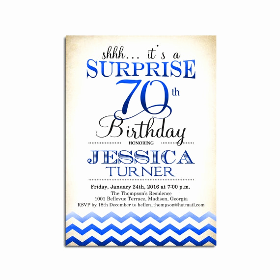 Surprise 70th Birthday Invitation Wording Fresh Surprise 70th Birthday Invitation Any Age Royal Blue White