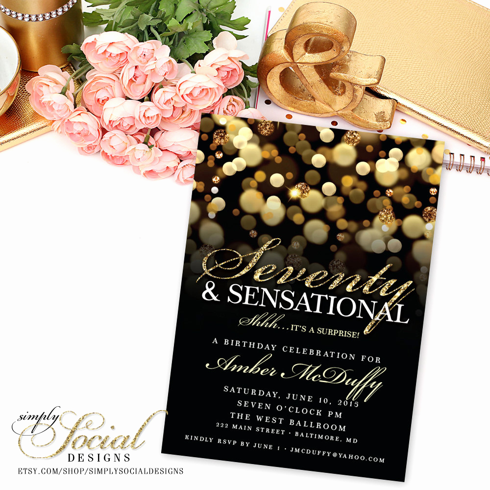 Surprise 70th Birthday Invitation Wording Fresh Surprise 70th Birthday Party Invitation by Simplysocialdesigns