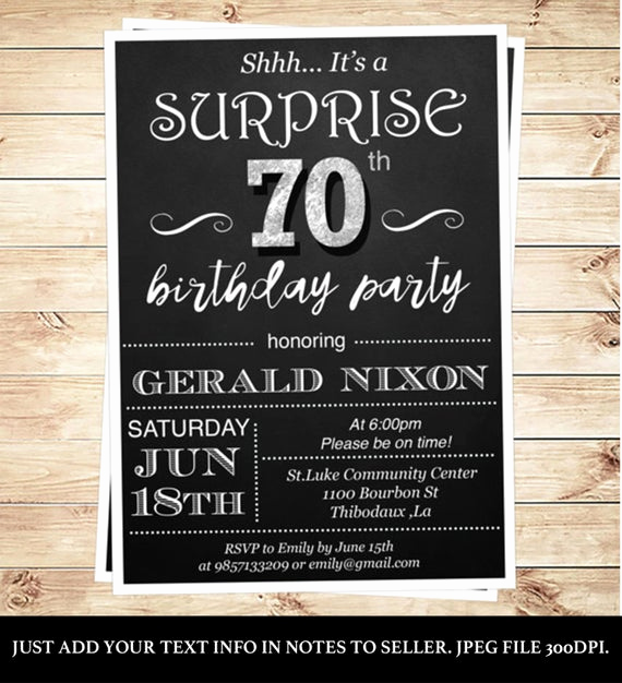 Surprise 70th Birthday Invitation Wording Inspirational Surprise 70 Birthday Party Invitations by Diypartyinvitation