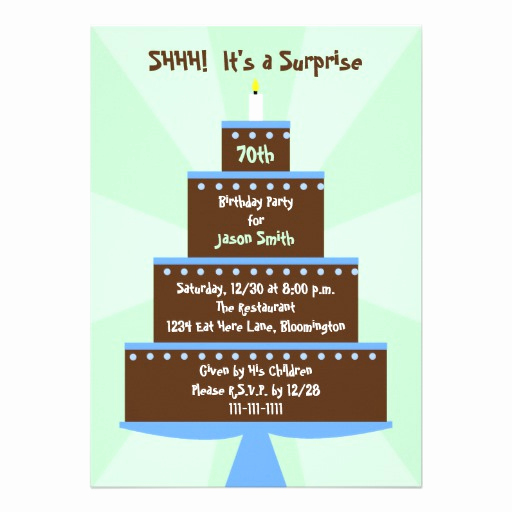 "Surprise 70th Birthday Invitation Wording Inspirational Surprise 70th Birthday Party Invitation Cake 5"" X 7"